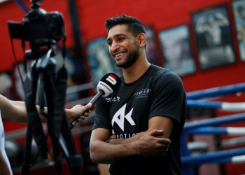 Amir Khan during a press conference at his gym in Bolton to announce the Manny Pacquiao bout to be held in Riyadh in November 2019. (Action Images via Reuters)