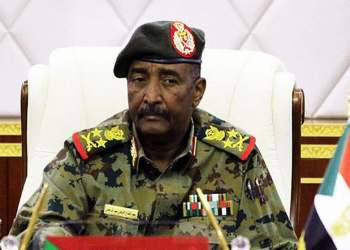 Lieutenant General Abdel Fattah al-Burhan, the chief of the military council in Sudan attending a session in the capital Khartoum. (AFP)