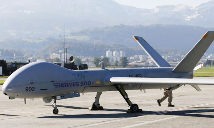 An Israeli-made Hermes 900 Kochav drone, designed for tactical missions. File photo/ Reuters