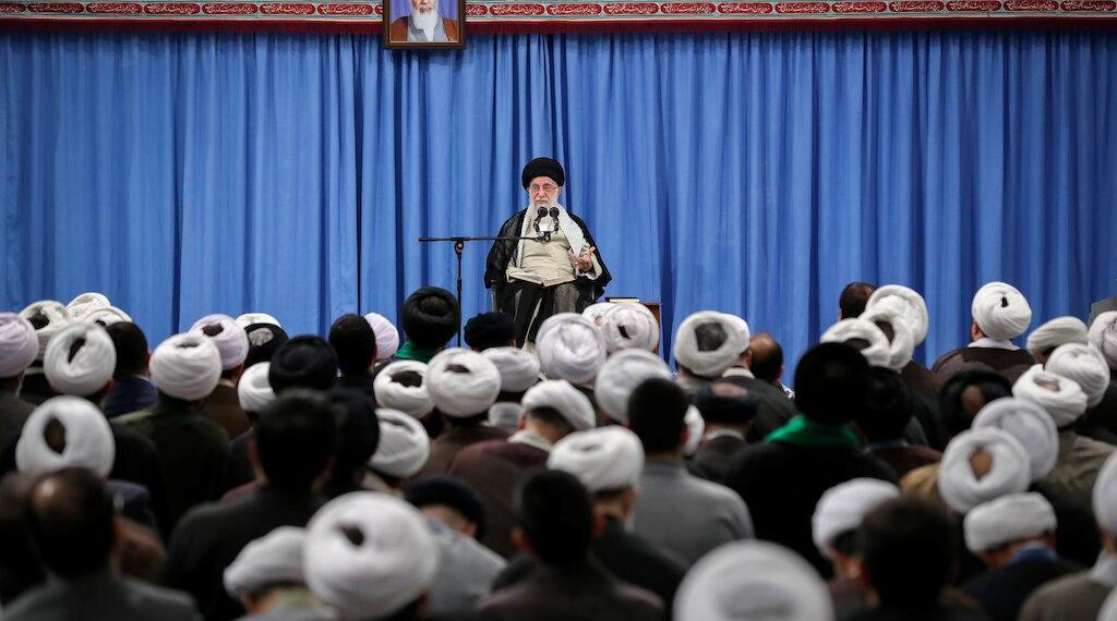 Iran's Supreme Leader Ayatollah Ali Khamenei gives a speech to a group of scholars and seminary students of religious sciences in Tehran, Iran September 17, 2019. Official Khamenei website/Handout via REUTERS