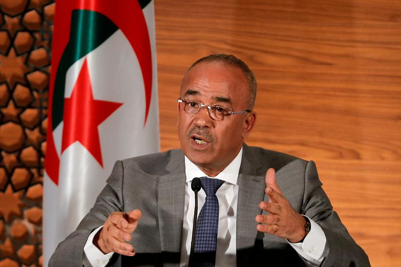 FILE PHOTO - Algeria's newly appointed prime minister, Noureddine Bedoui, speaks during a joint news conference with deputy prime minister Ramtane Lamamra, in Algiers, Algeria March 14, 2019. REUTERS/Zohra Bensemra