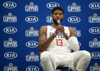September 29, 2019; Los Angeles, CA, USA; Los Angeles Clippers forward Paul George (13) speaks with media during media day at LA Clippers Training Center. Mandatory Credit: Gary A. Vasquez-USA TODAY Sports