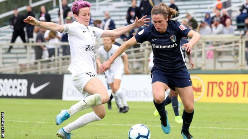 Heather O'Reilly (right) knocked out Megan Rapinoe's (left) Reign FC side in the semi-finals of the NWSL Championship before going on to win the final 4-0 in her final match two weeks' ago