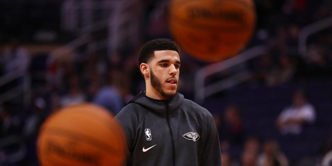 Nov 21, 2019; Phoenix, AZ, USA; New Orleans Pelicans guard Lonzo Ball warms up prior to the game against the Phoenix Suns at Talking Stick Resort Arena. Mandatory Credit: Mark J. Rebilas-USA TODAY Sports