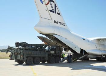 FILE PHOTO: Parts of a Russian S-400 defense system are unloaded from a Russian plane at Murted Airport near Ankara, Turkey, August 27, 2019. Turkish Military/Turkish Defence Ministry/Handout via REUTERS
