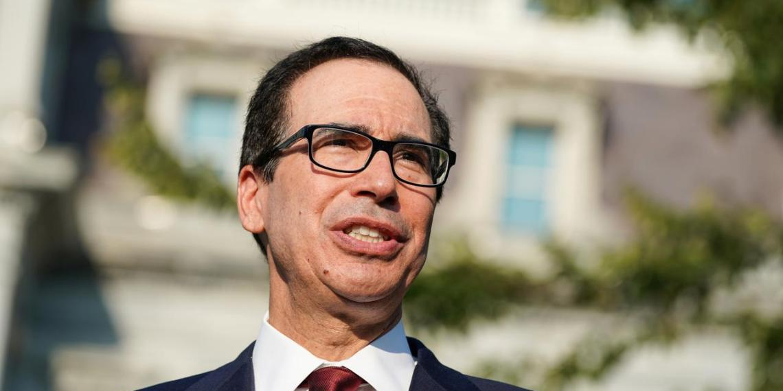 FILE PHOTO: Secretary of the Treasury Steven Mnuchin answers questions from the press after an interview on CNBC on the North Lawn of the White House in Washington, U.S., September 12, 2019. REUTERS/Sarah Silbiger/File Photo