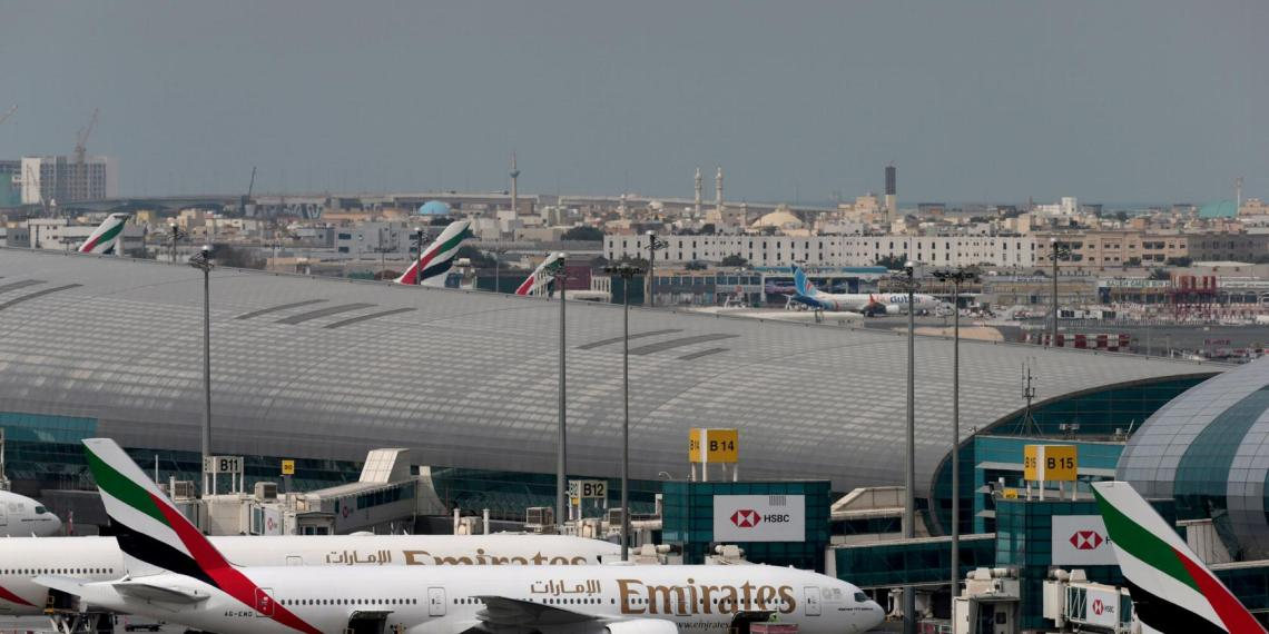 FILE PHOTO: An Emirates Airline plane lands at the Dubai International Airport in Dubai, United Arab Emirates February 15, 2019. REUTERS/Christopher Pike/File Photo