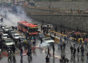 People protest against increased gas price, on a highway in Tehran, Iran November 16, 2019. Nazanin Tabatabaee/WANA (West Asia News Agency) via REUTERS