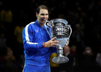 Tennis - ATP Finals - The O2, London, Britain - November 15, 2019 Spain's Rafael Nadal celebrates with the ATP World No.1 trophy after winning his group stage match against Greece's Stefanos Tsitsipas Action Images via Reuters/Tony O'Brien