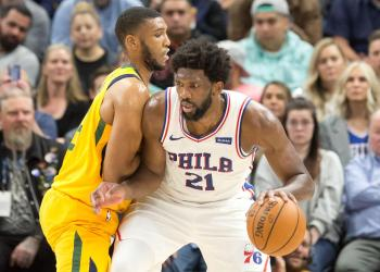 Nov 6, 2019; Salt Lake City, UT, USA; Utah Jazz center Tony Bradley (13) defends against Philadelphia 76ers center Joel Embiid (21) during the first half at Vivint Smart Home Arena. Mandatory Credit: Russ Isabella-USA TODAY Sports