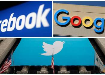 FILE PHOTO: Facebook, Google and Twitter logos are seen in this combination photo from Reuters files. REUTERS/File Photo