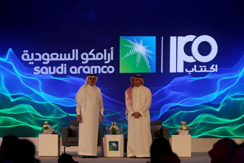 FILE PHOTO: Yasser al-Rumayyan, Saudi Aramco's chairman, and Amin H. Nasser, president and CEO of Aramco, attend a news conference at the Plaza Conference Center in Dhahran, Saudi Arabia November 3, 2019. REUTERS/Hamad I Mohammed/File Photo