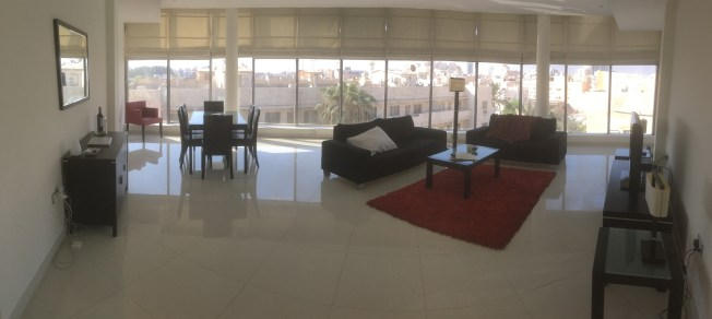 Living area...it's actually rounded, but I used the panoramic view on the phone...