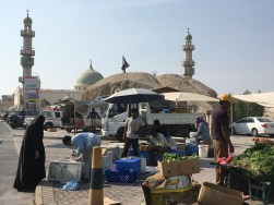 A farmers' market and a mosque amid the burial mounds...