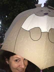 Got caught in a downpour and had a borrow a co-worker's 9-year-old's umbrella.