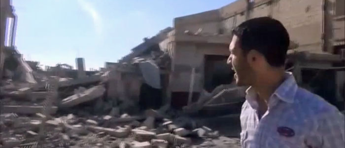 A screen grab of a Qusair video report provided by activist Rifaie Tammas