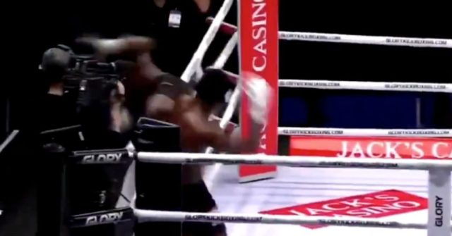 (Video) GLORY Kickboxer Murthel Groenhart Goes Over The Ropes After Flying Knee