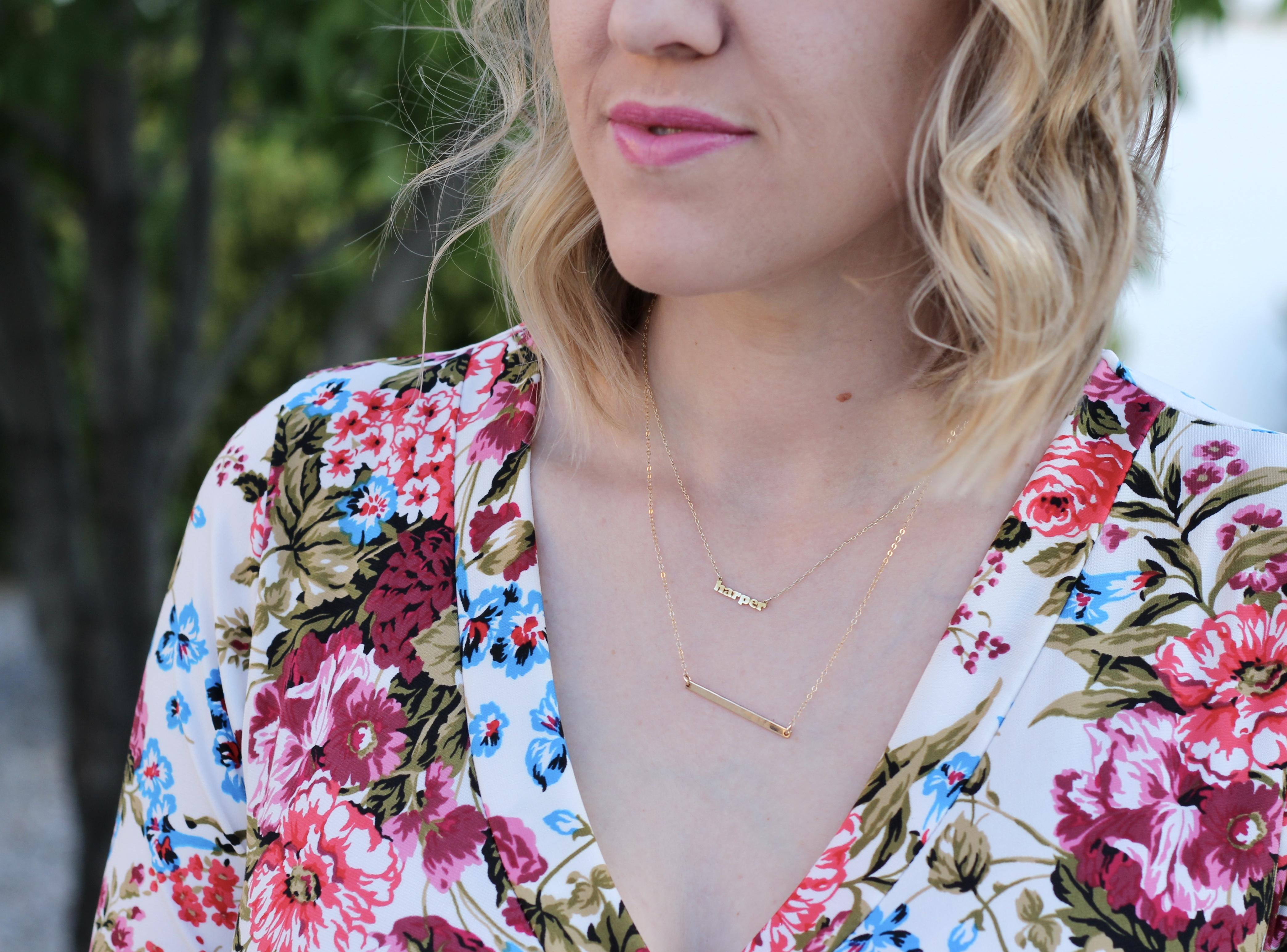 personalized dainty jewelry, floral wrap maxi dress