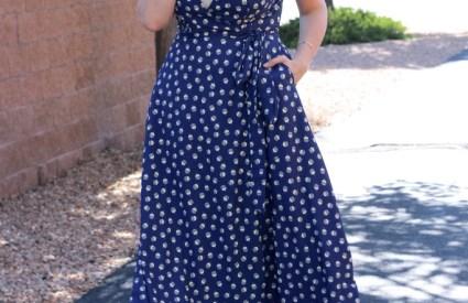 Dandelion Print Wrap Dress