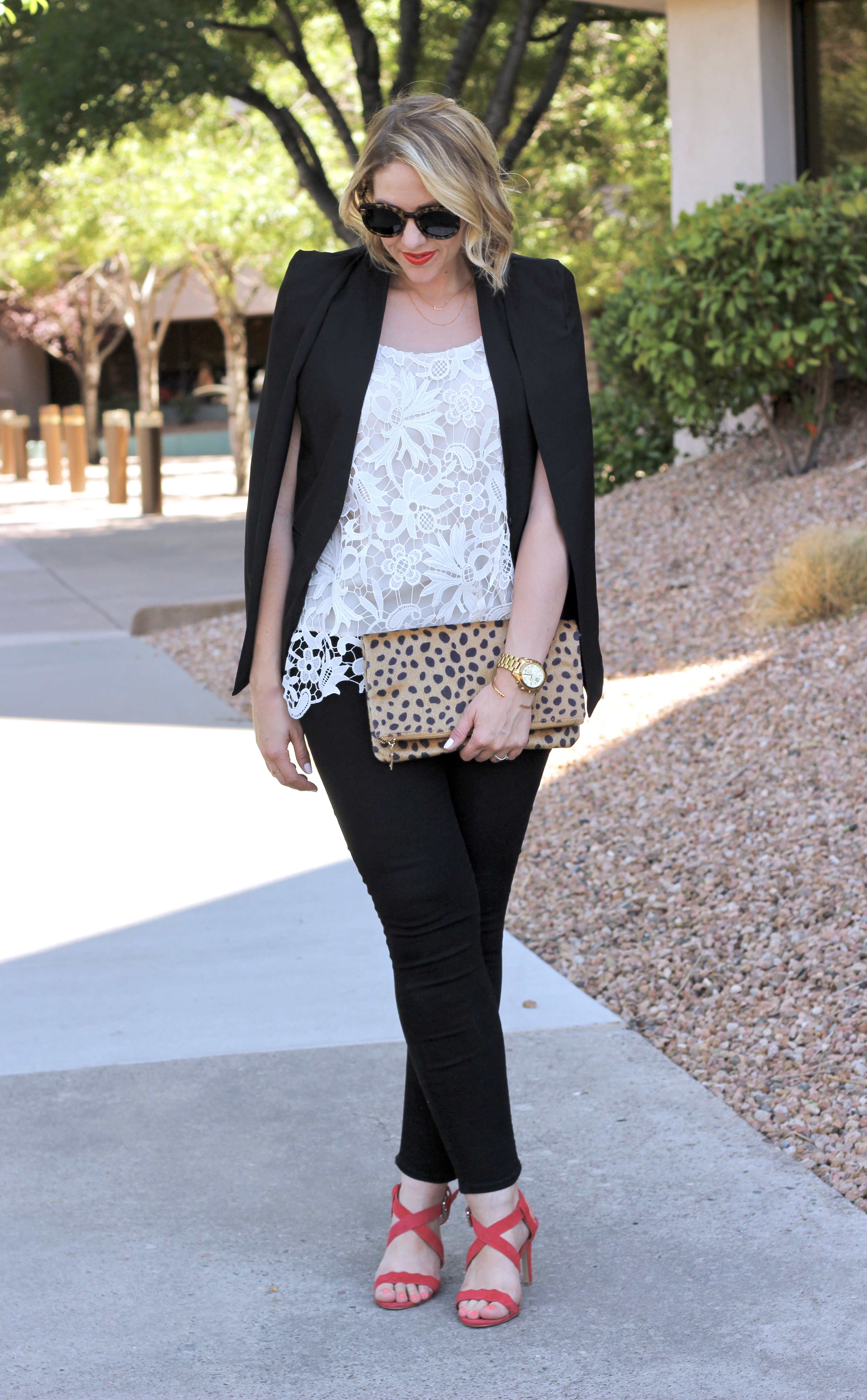 leopard and lace outfit