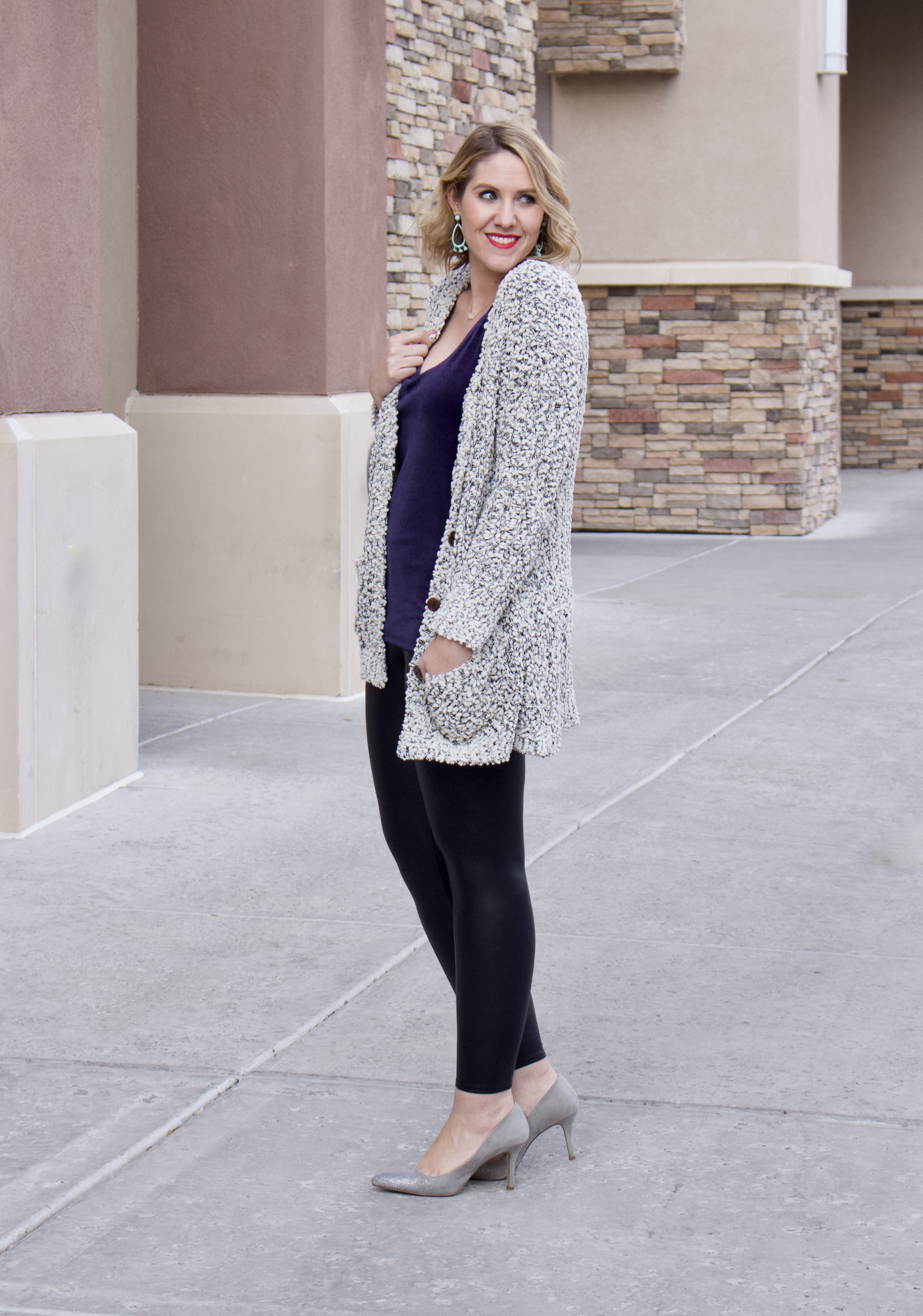 velvet cami cozy cardigan outfit