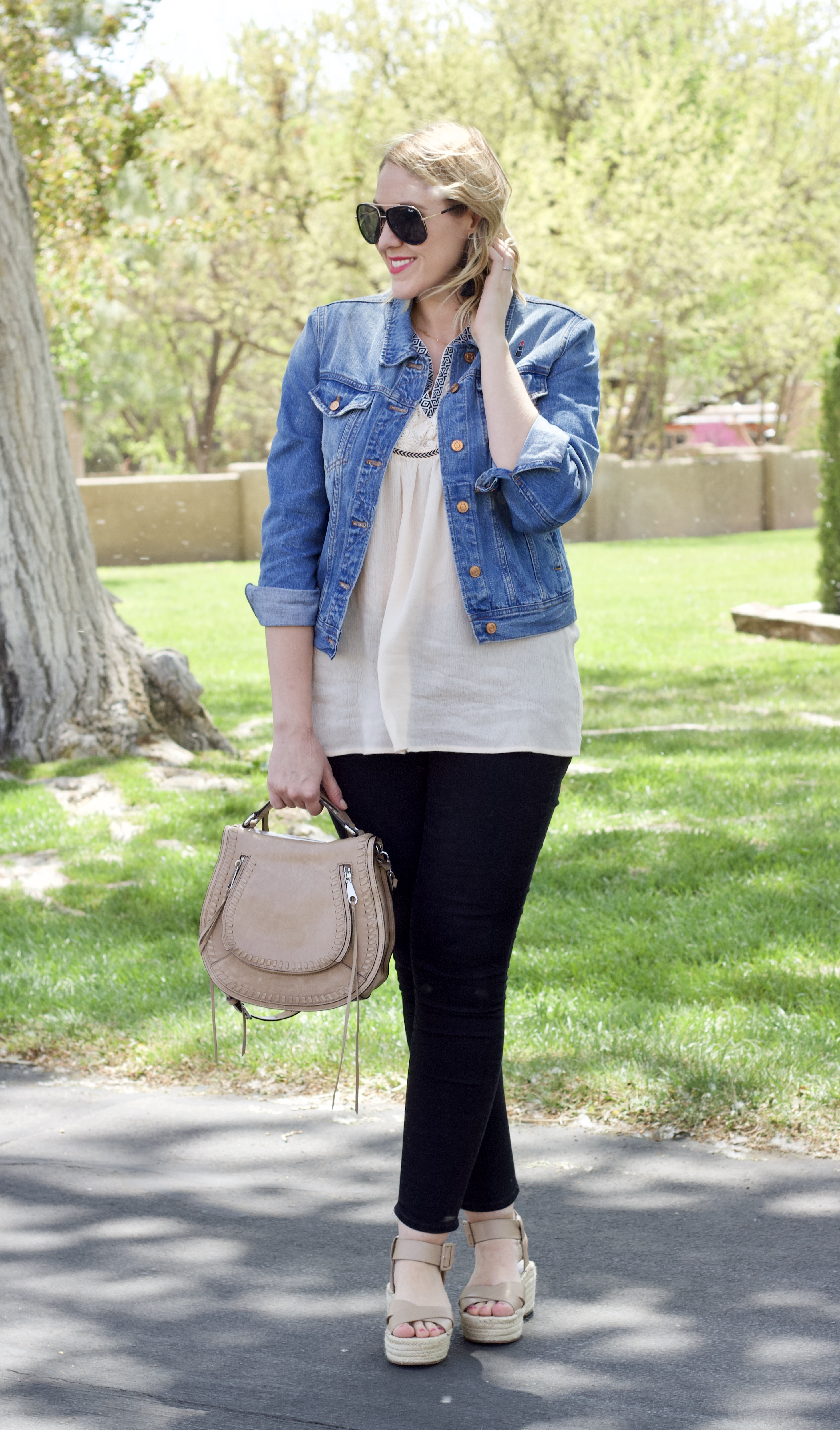 mom style for spring #momstyle #denimjacket #curvyfashion
