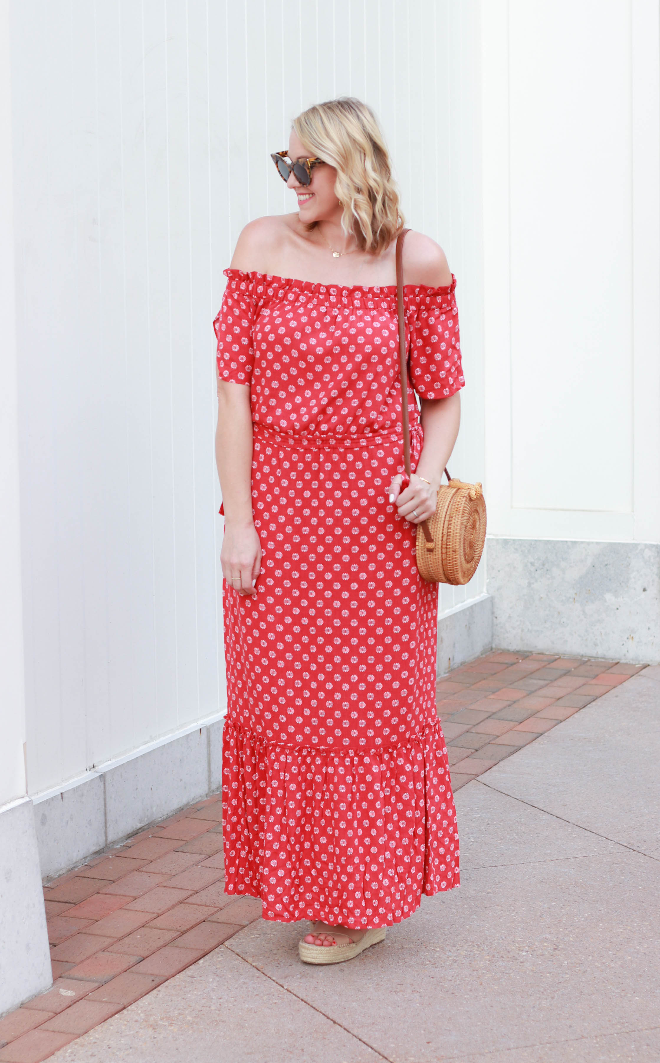 red off the shoulder printed maxi dress 1.STATE #macys #macyslove #maxidress #bohostyle