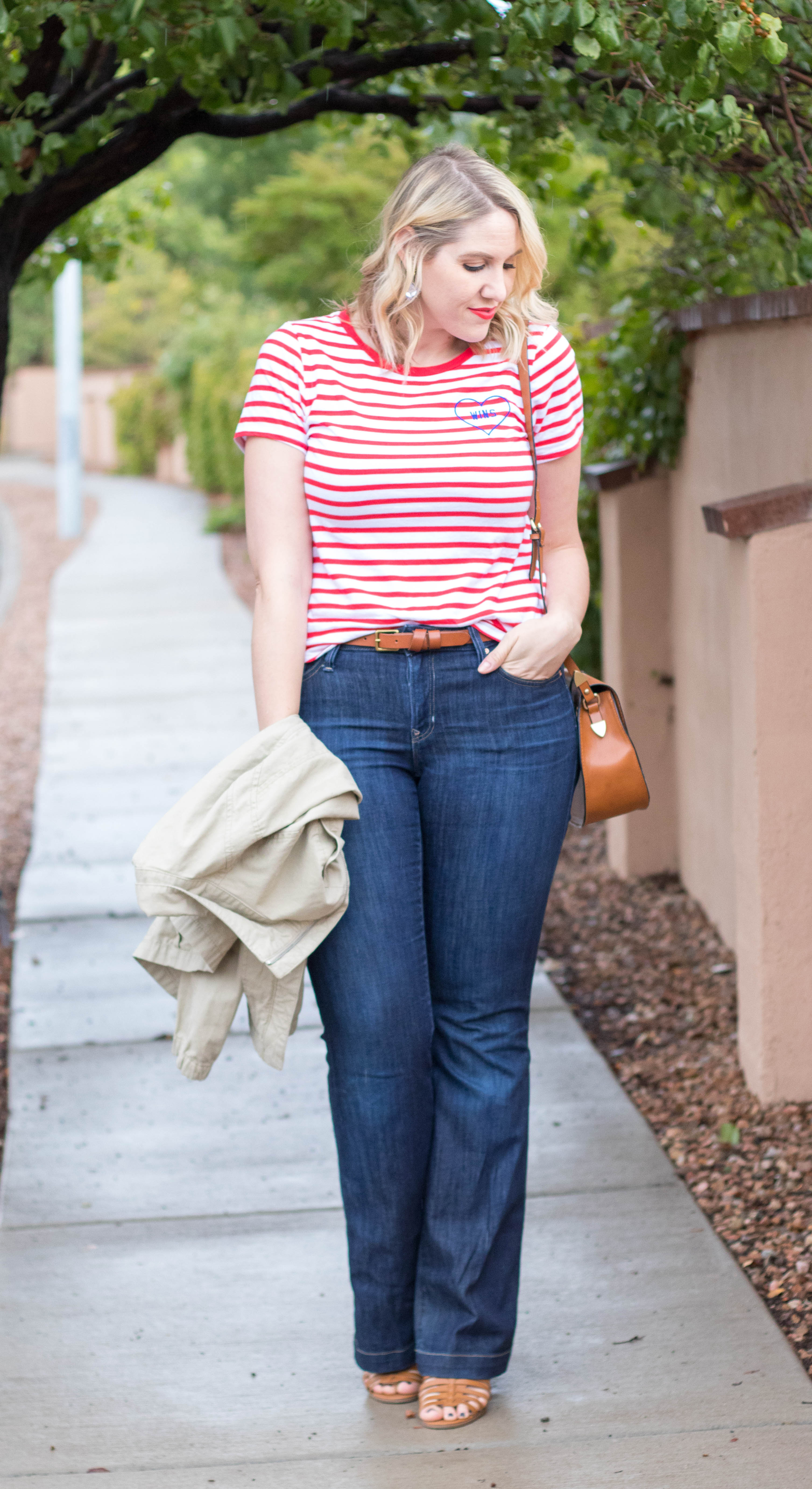 graphic striped tee outfit #oldnavy #fallstyle #flarejeans