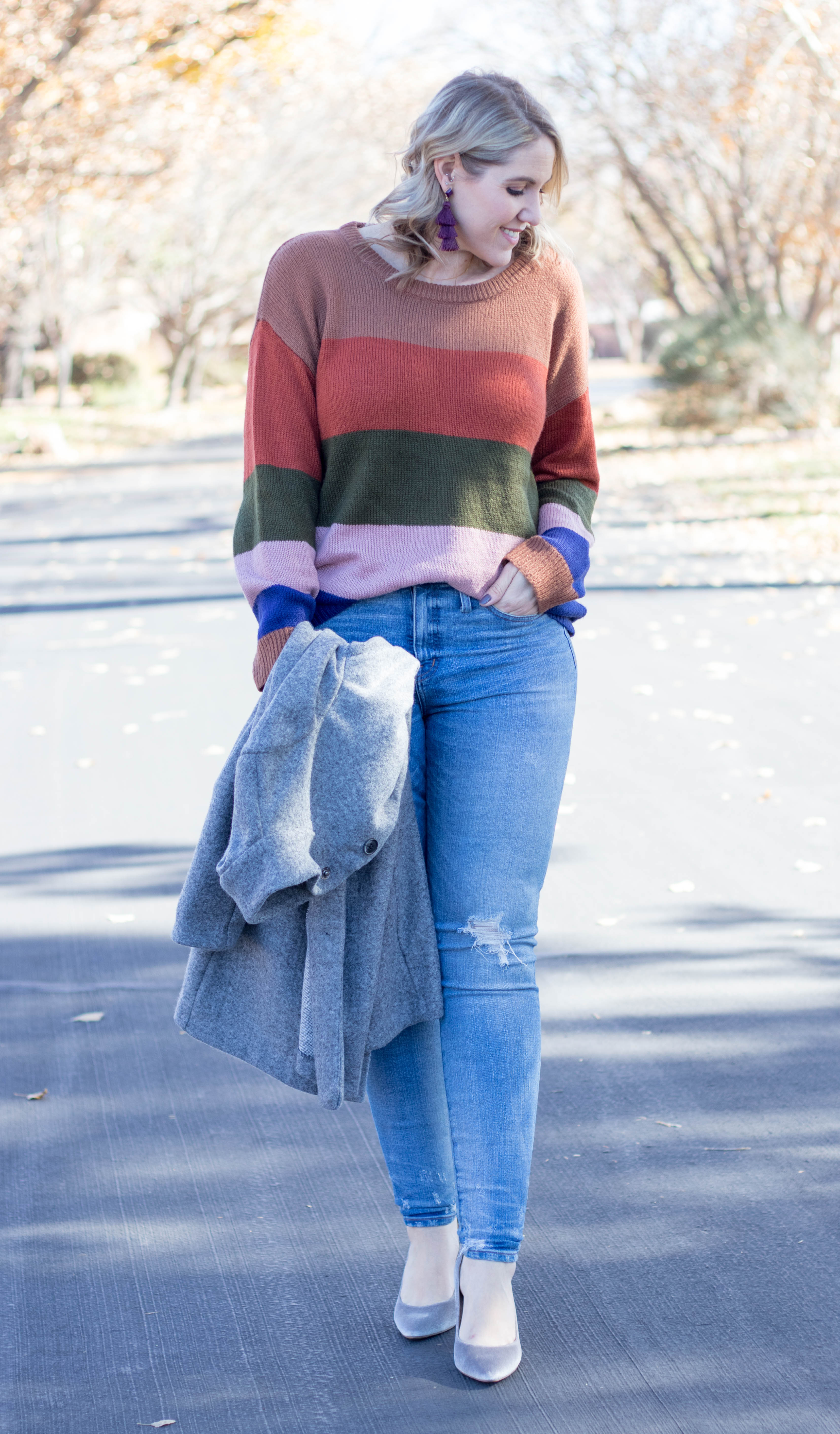 how to style a striped sweater for winter #winterfashion #tallfashion #madewell