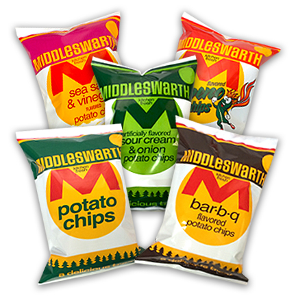 Middleswarth potato chips 2 ounce bags