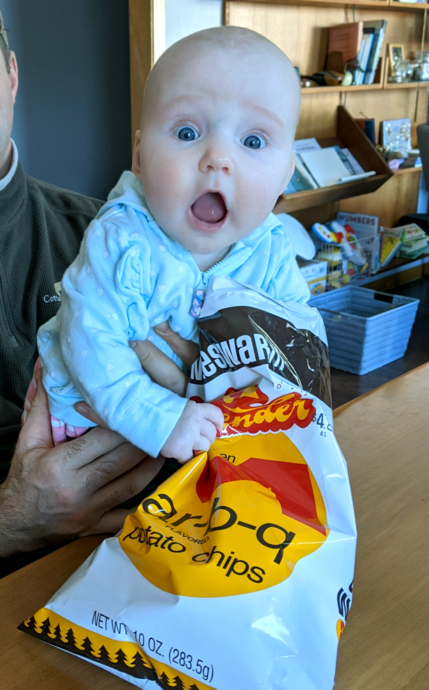 fan of middleswarth chips baby with mouth open