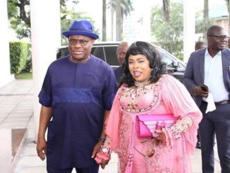 Check out what Patience Jonathan wore to visit Rivers governor, Nyesom Wike alongside her HusbandByTobiloba