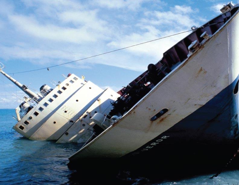 Un barco que se hunde