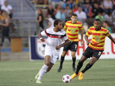 Jonathan Okafor playing for the Silverbacks earlier in 2015. (Photo: Fort Lauderdale Strikers)