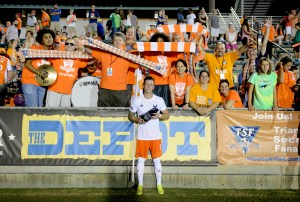Wes Knight poses with fans after playing his final professional soccer game. (Photo: Rob Kinnan-Carolina RailHawks)