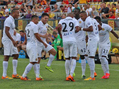The Strikers dance to celebrate Stefano Pinho's opening goal. (Photo: Fort Lauderdale Strikers)