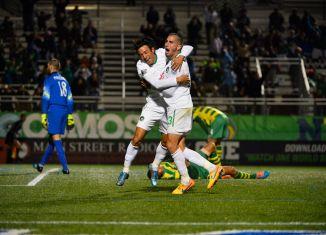 Walter Restrepo and Sebastian Guenzatti celebrate the second goal (Photo: New York Cosmos)
