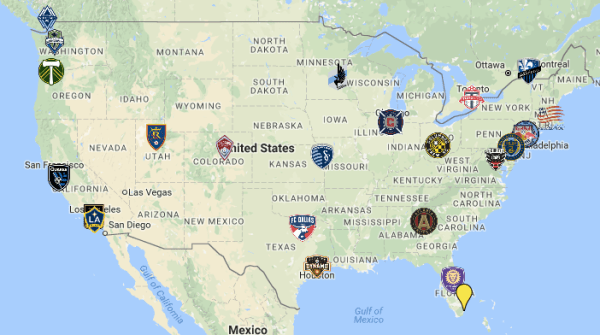 MLS's footprint with announced teams & Miami included