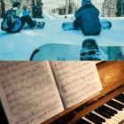 スノーボーダーとピアノの画像