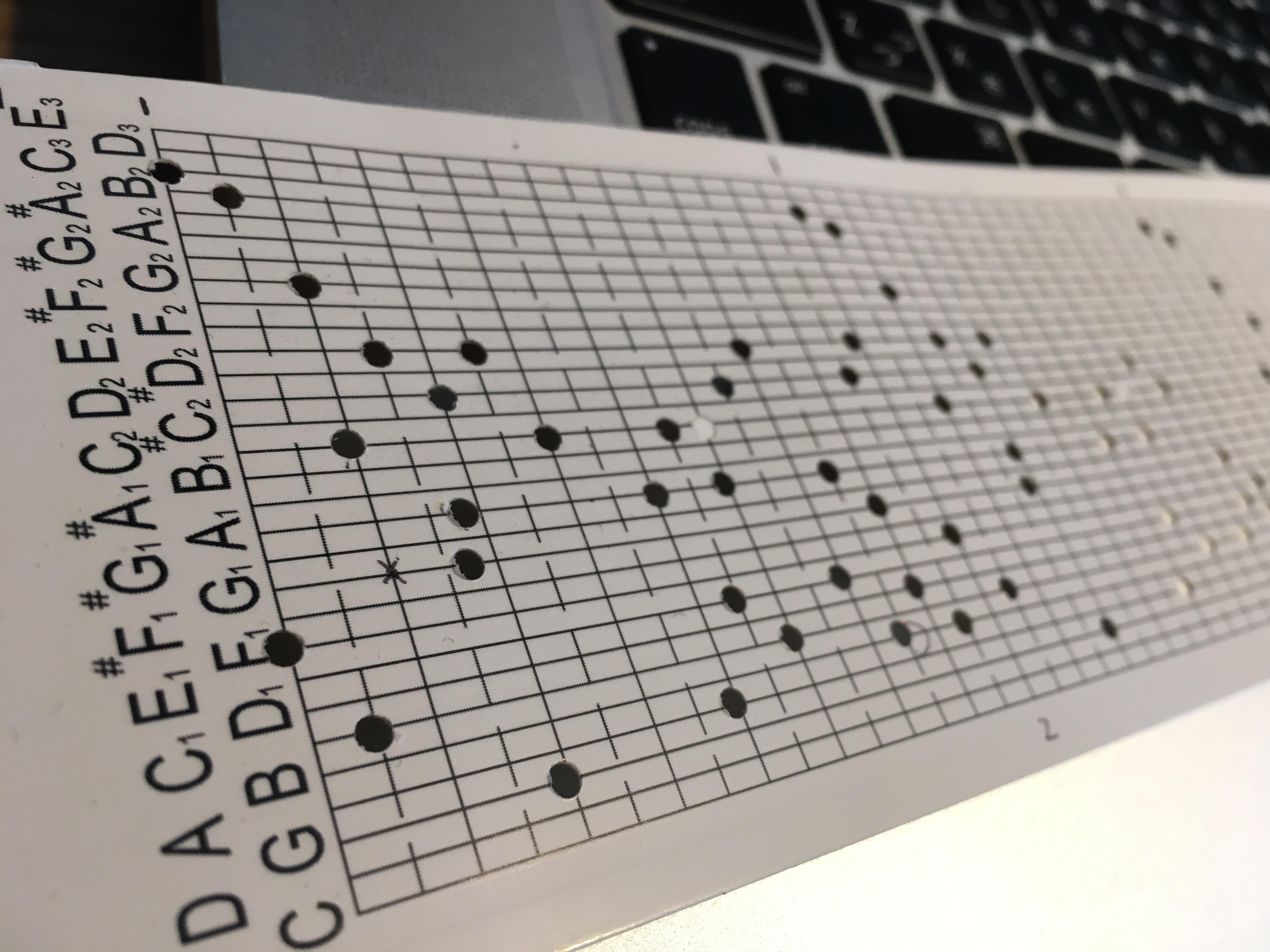 オルゴールの記録テープ