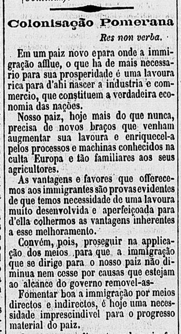 O jornal 'O Cruzeiro' dá destaque aos pomeranos em sua edição de 28 de janeiro de 1878, sob o título 'Colonisação Pomerana'