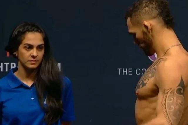 ufc - Moça faz caras e bocas para lutadores do UFC e viraliza na Internet