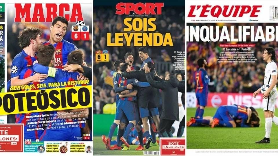 barça1 1 - Capas de Jornais pelo Mundo sobre o 6 a 1 do Barça sobre o PSG