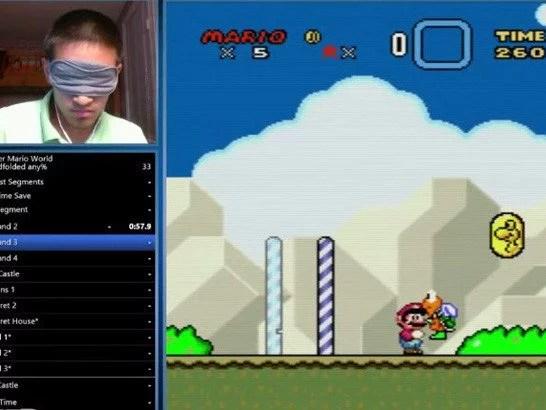 jogar olhos vendados super mario - Recorde de terminar Super Mario World vendado foi quebrado