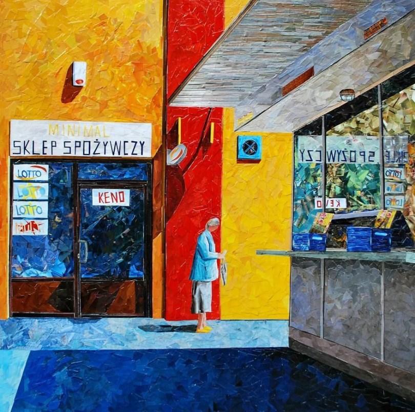 Paisagens urbanas que parecem pinturas a óleo que eu crio usando apenas papel e cola20 - Artista polonês usa papel e cola em quadros que parecem a tinta a óleo
