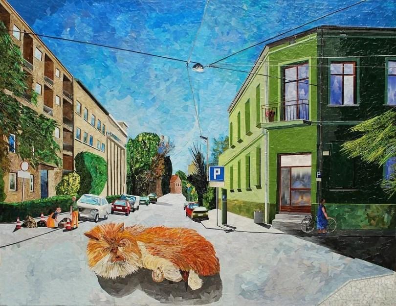 Paisagens urbanas que parecem pinturas a óleo que eu crio usando apenas papel e cola5 - Artista polonês usa papel e cola em quadros que parecem a tinta a óleo