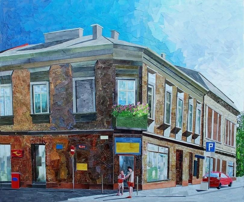 Paisagens urbanas que parecem pinturas a óleo que eu crio usando apenas papel e cola8 - Artista polonês usa papel e cola em quadros que parecem a tinta a óleo