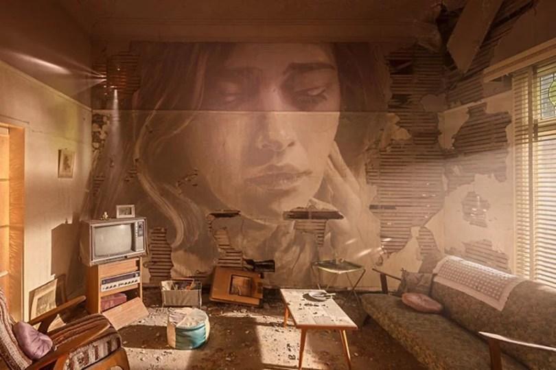 artista pinta em casa que sera demolida4 - Artista pinta rosto de mulheres em casa que será demolida na Austrália