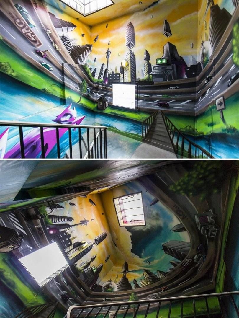 grafite pinturas artistas 13 - Grafiteiros pintam uma residência estudantil e o resultado chama atenção