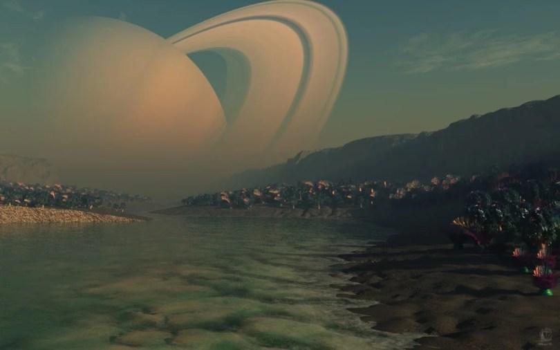 """titã view of Saturn from titan 1024x640 - Lua de Saturno tem substâncias químicas que podem formar """"membranas"""""""